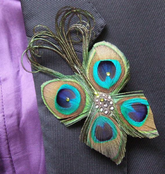 "Bridal Wedding Boutonniere Lapel Pin Peacock Feathers Butterfly with Crystals ""Dot"""